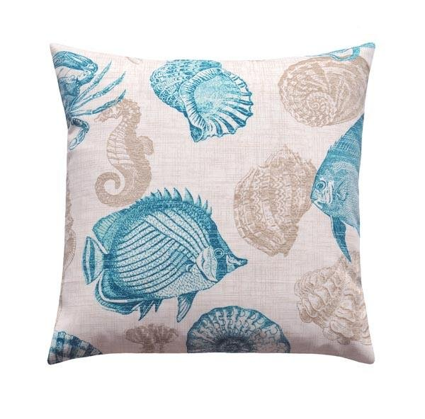 Aqua and Teal Ikat Checkered Square Outdoor Pillow