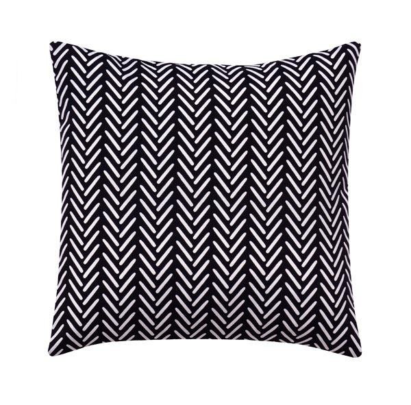 Shadow Black Tribal Herringbone Outdoor Pillow - Land of Pillows
