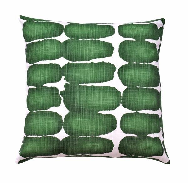 Shibori Dot Pine Green Slub Canvas Pillow - Land of Pillows
