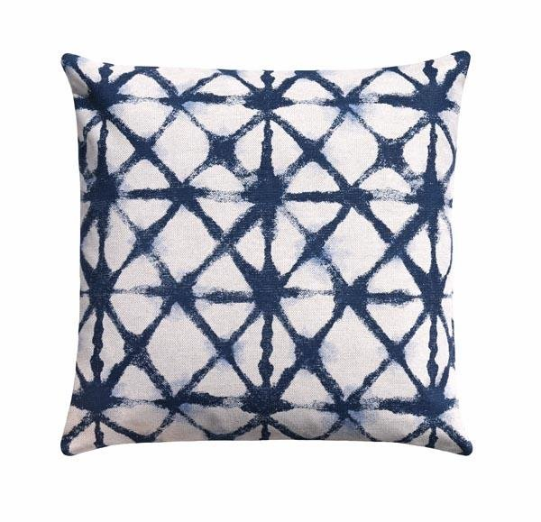 Shibori Net Flax Basketwaeve Italian Denim Blue Pillow - Land of Pillows