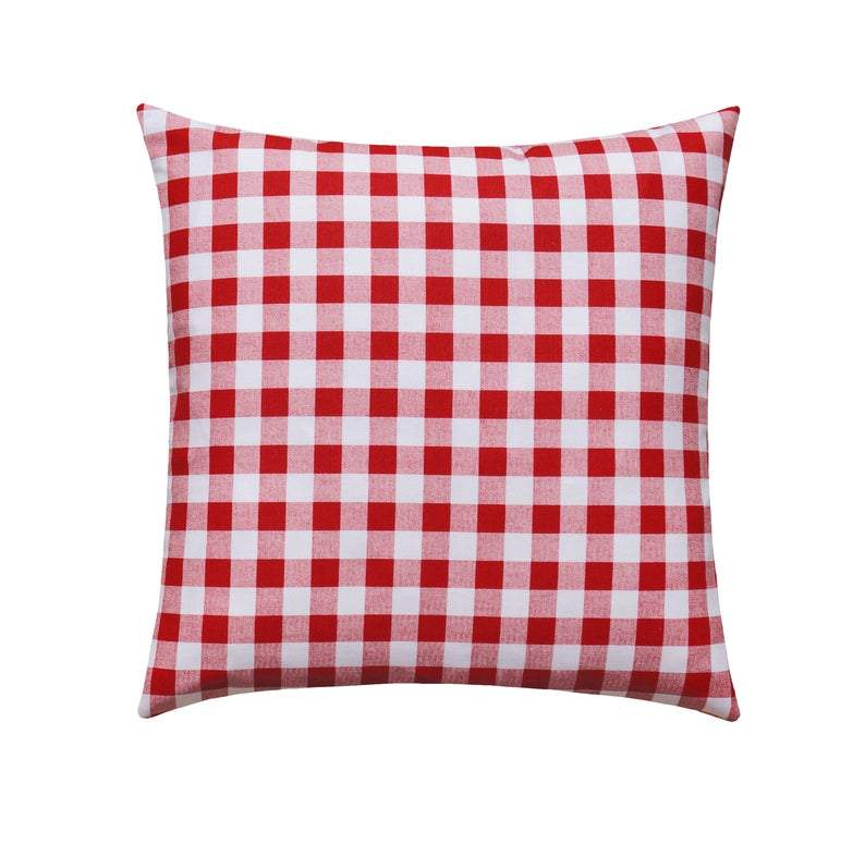 Small Red Check Plaid Pillow - Land of Pillows