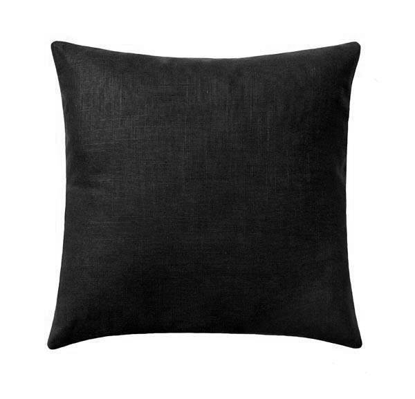 Solid Black Linen Pillow - Land of Pillows