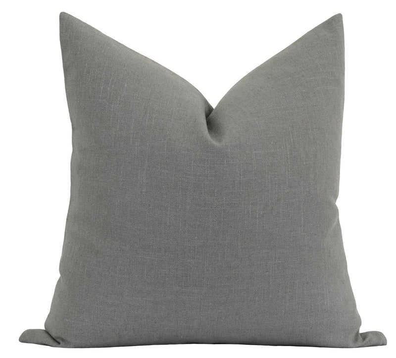 Solid Stone Grey Linen Pillow - Land of Pillows