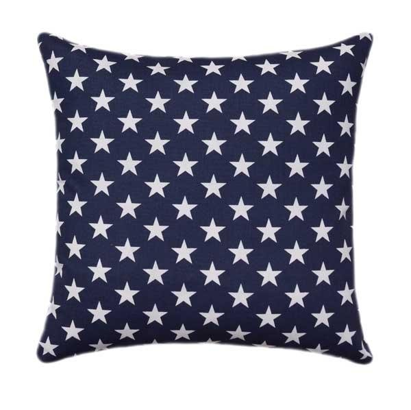 Stars Oxford Navy Blue and White Patriotic Outdoor Pillow - Land of Pillows