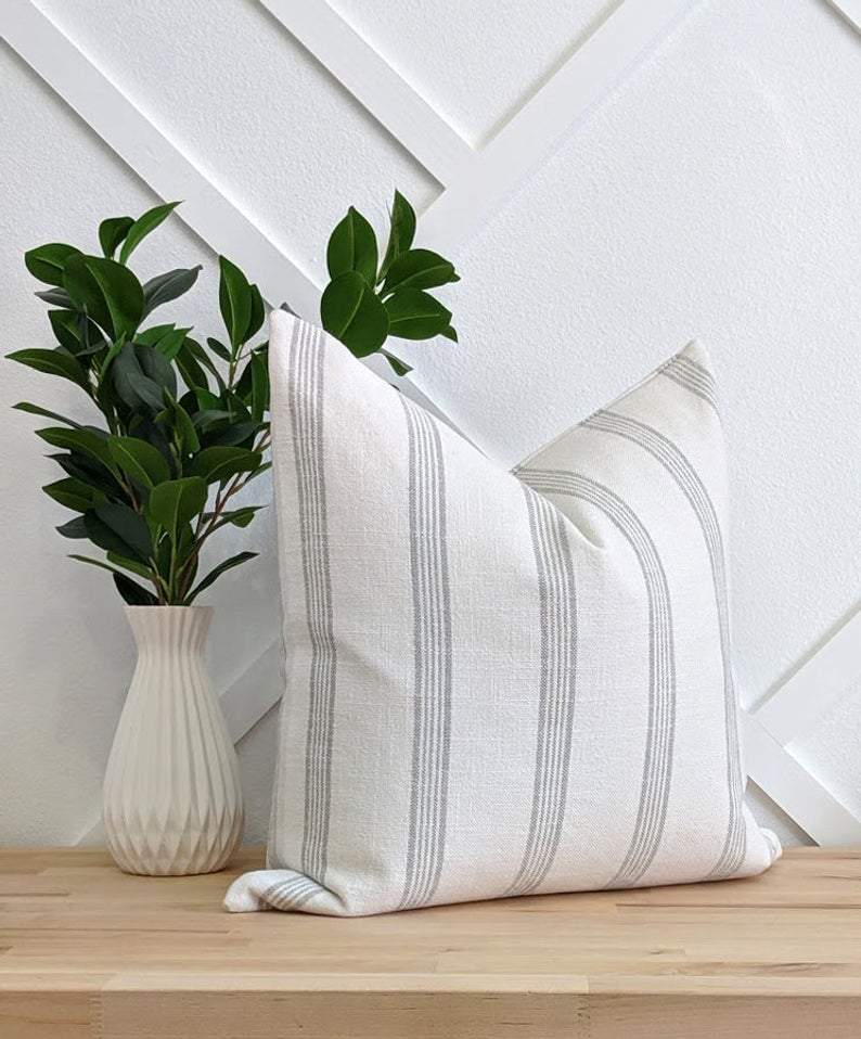 Stone Grey French Country Stripe Linen Pillow - Land of Pillows