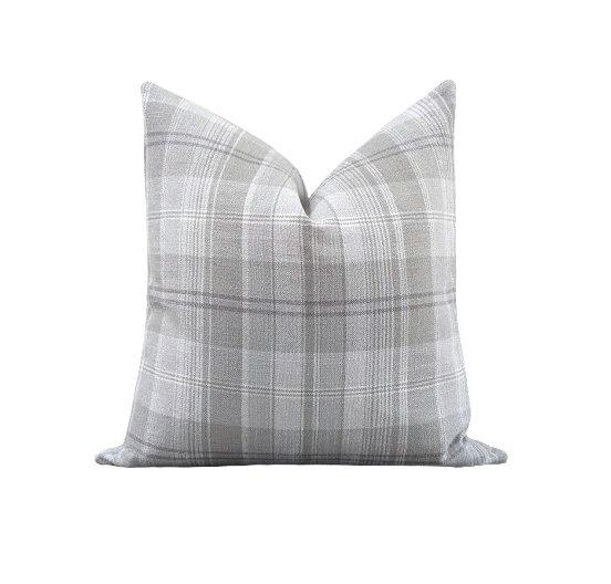 Stone Grey Tartan Plaid Linen Pillow - Land of Pillows
