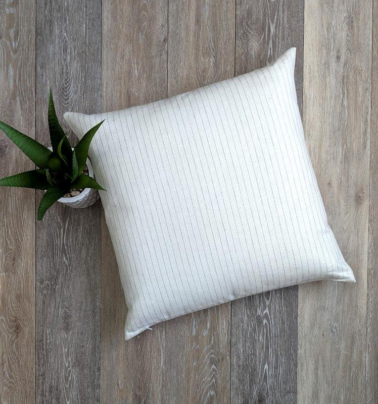 Stone Grey Ticking Stripe Linen Pillow - Land of Pillows