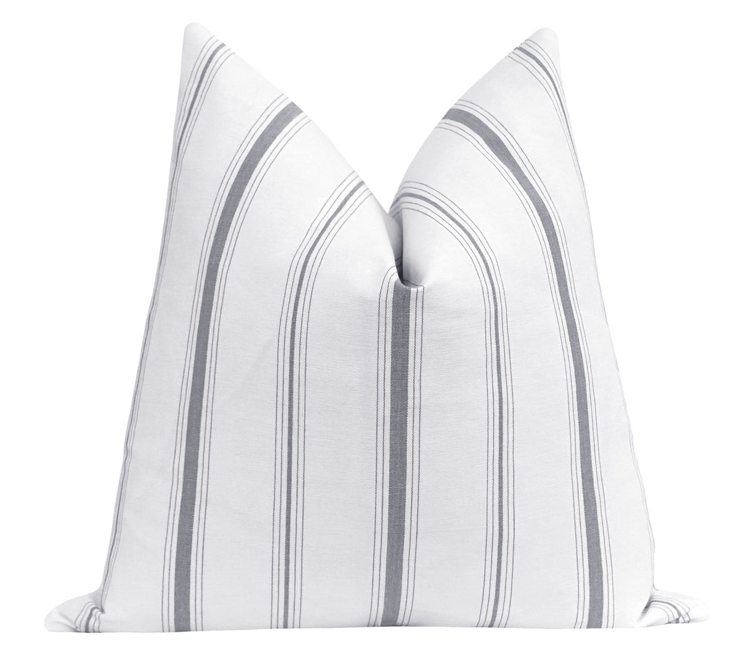 Storm Grey French Cottage Stripe Pillow - Land of Pillows
