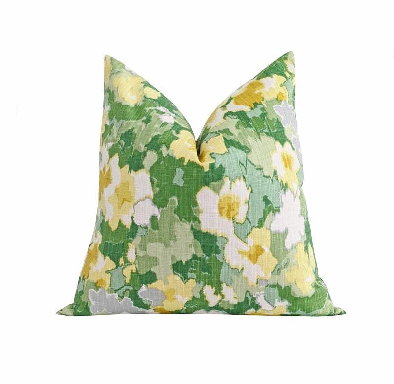Summer Meadow Cucmber Green and Yellow Floral Pillow - Land of Pillows