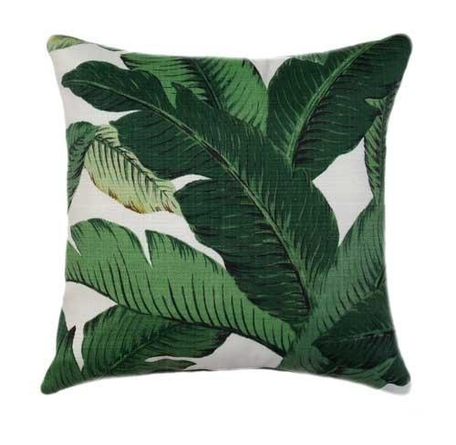Palm Green Outdoor Banana Leaf Pillow