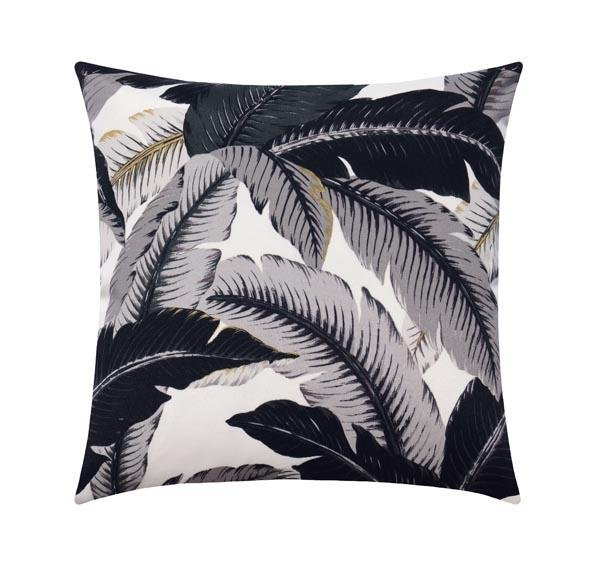 Swaying Palm Onyx Black Grey Outdoor Tropical Banana Leaf Pillow - Land of Pillows