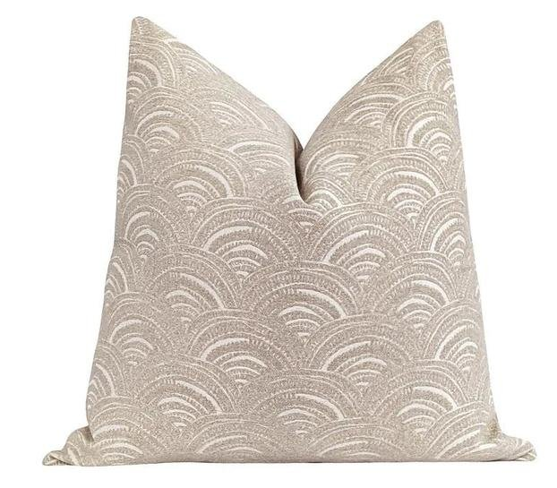 Tan Arches Chenille Pillow - Land of Pillows