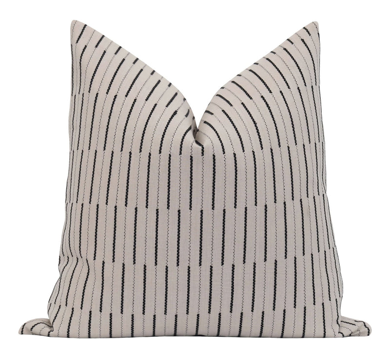 Tan & Black Embroidered Stripe Pillow - Land of Pillows
