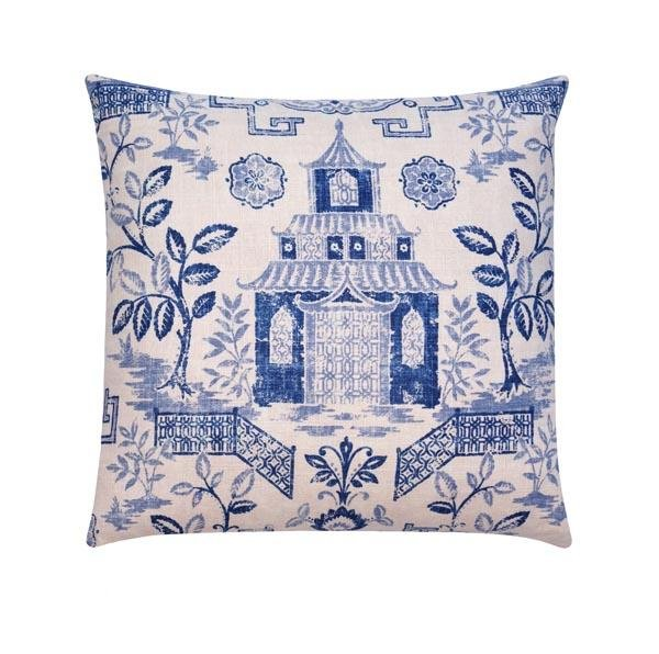 Tea House Bluestone Pagoda Chinoiserie Linen Pillow - Land of Pillows