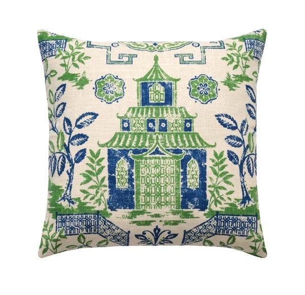 Tea House Bluestone Pagoda Chinoiserie Linen Pillow