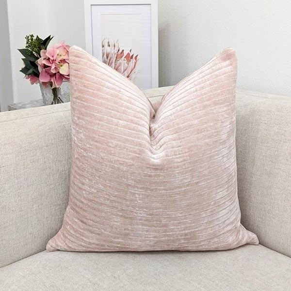Textured Blush Pink Velvet Pillow - Land of Pillows