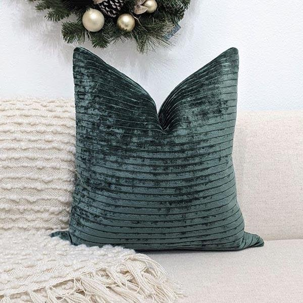 Textured Kale Green Velvet Pillow - Land of Pillows