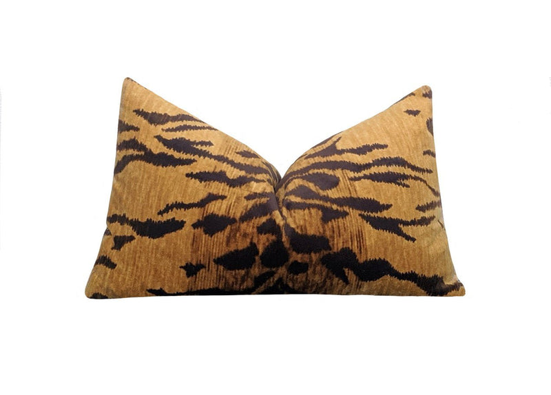 Tiago Natural Tiger Print Velvet Pillow - Land of Pillows