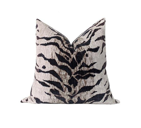 Tiago White Tiger Print Velvet Pillow - Land of Pillows
