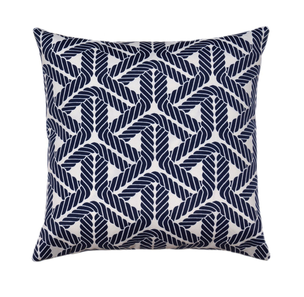 Topsail Trellis Navy Rope Work Outdoor Pillow - Land of Pillows