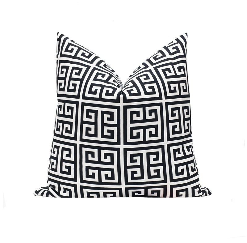 Towers Black Greek Key Pillow