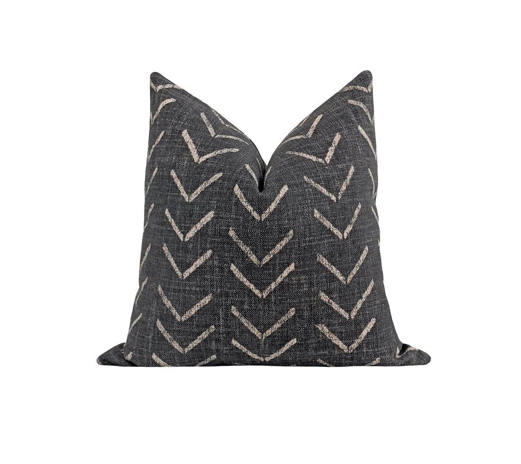Tribal Arrow Onyx Black Mud Cloth Print Pillow - Land of Pillows