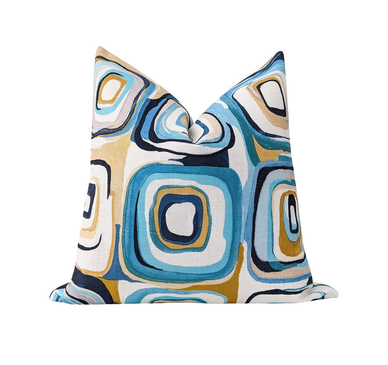 Turquoise Blue and Gold Contemporary Squares Pillow - Land of Pillows