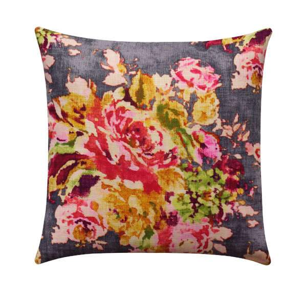 Venus Charcoal Grey Floral Pillow - Land of Pillows