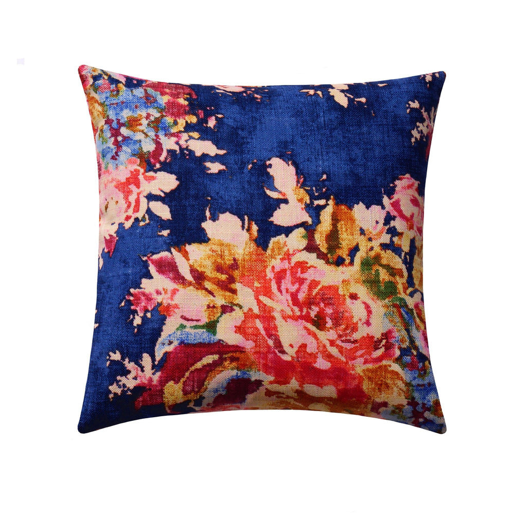 Venus Sapphire Blue Floral Pillow - Land of Pillows