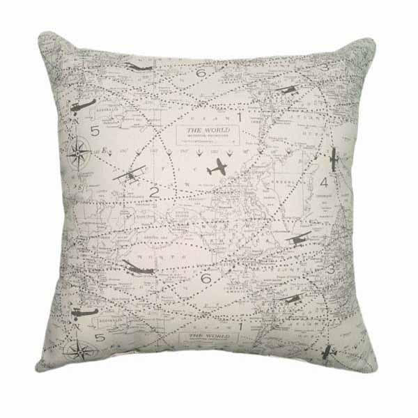 Vintage Felix Airplane Aviation Map Pillow - Land of Pillows