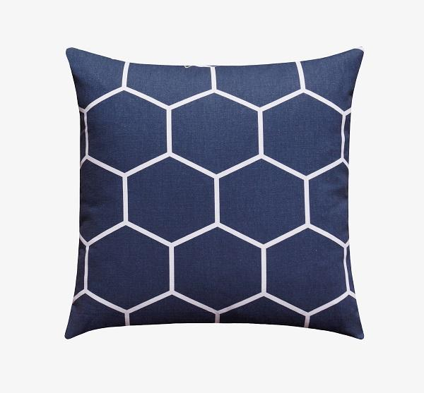 Vintage Indigo Blue Hexagon Pillow - Land of Pillows