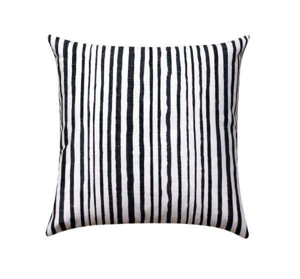 Washed Black Ikat Stripe Pillow - Land of Pillows