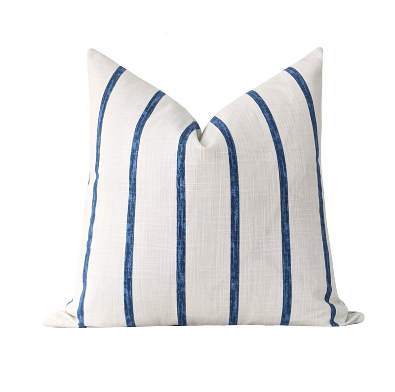 Washed Navy Blue Stripe Pillow - Land of Pillows