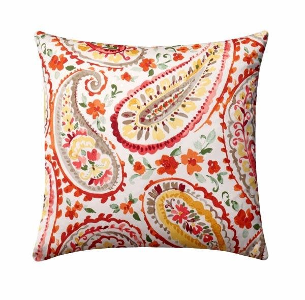 Watercolors Sunburst Paisley Pillow - Land of Pillows