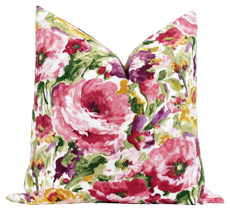 Wilmington Rosewood Colorful Outdoor Floral Pillow - Land of Pillows