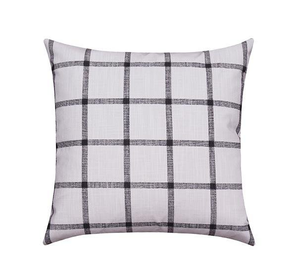 Window Pane Ink Black Plaid Pillow - Land of Pillows