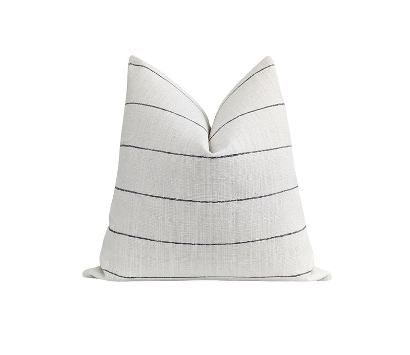 Woven Black & White Farmhouse Stripe Pillow - Land of Pillows