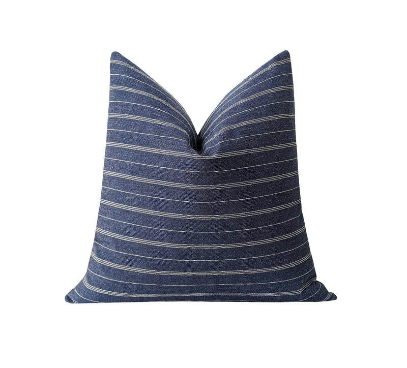 Woven Denim Blue & White Striped Pillow - Land of Pillows