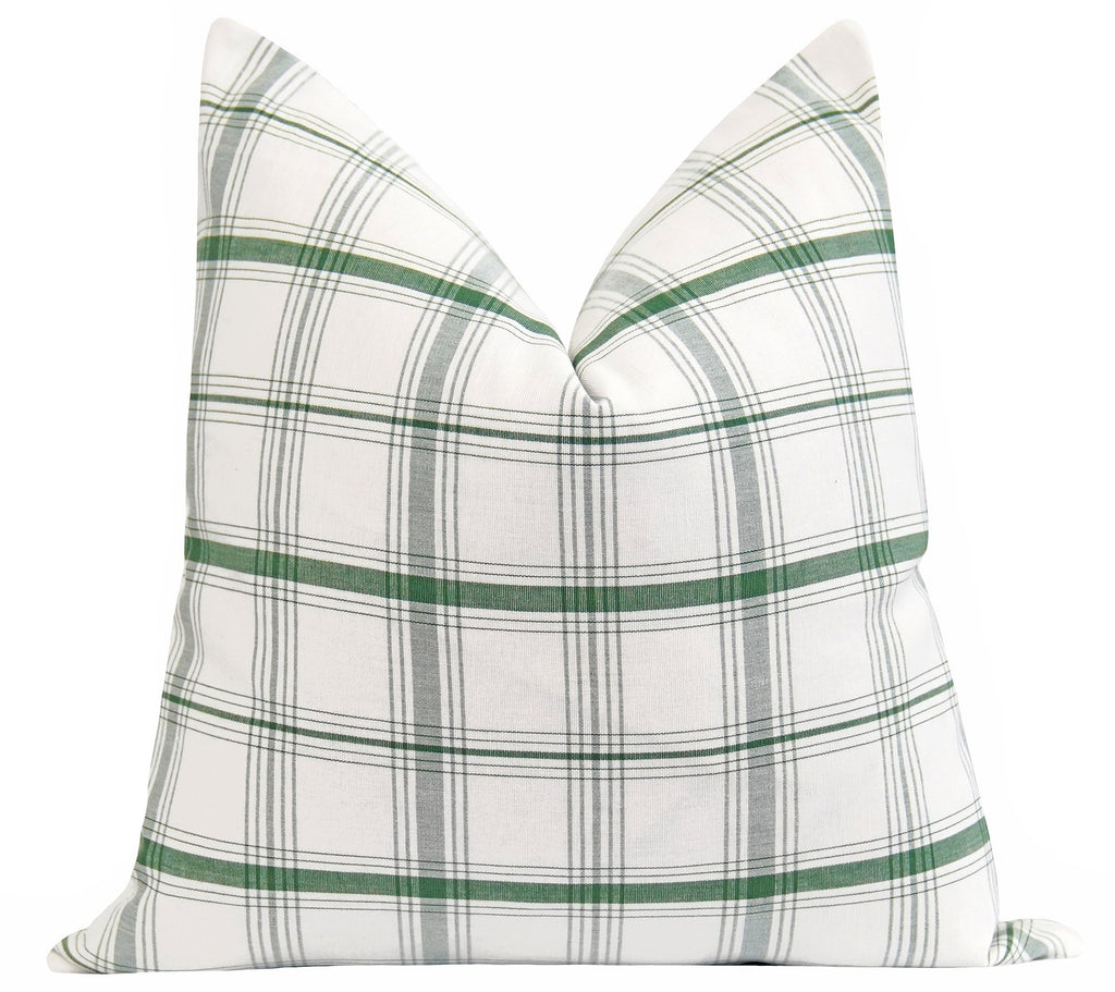 Woven Kelly Green Plaid Pillow - Land of Pillows
