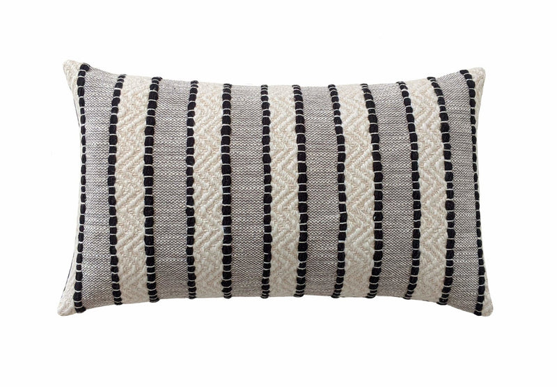 Yarn Woven Black and Cream Boho Stripe Pillow - Land of Pillows
