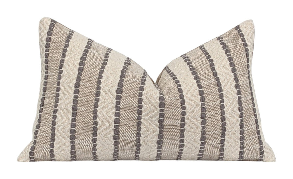 Yarn Woven Taupe Boho Stripe Pillow - Land of Pillows