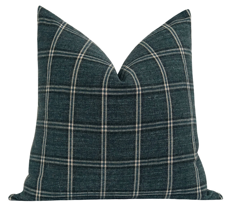 Yorktown Blue Spruce Plaid Pillow - Land of Pillows