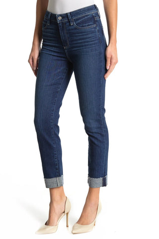 PAIGE Hoxton High Waist Raw Cuffed Crop Slim Jeans