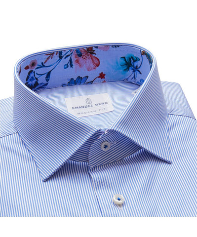 Fine Twill Stripe with Floral Contrast Luxury Sportshirt