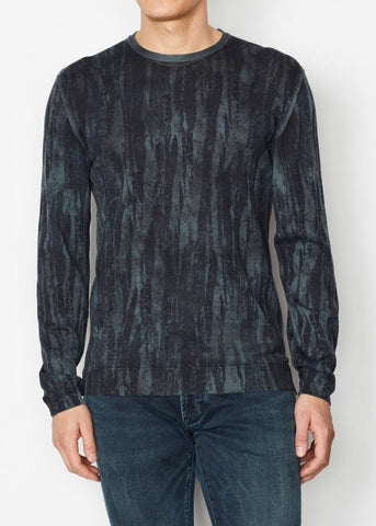 John Varvatos - Noah Long Sleeve Crew in Distressed Strokes Print