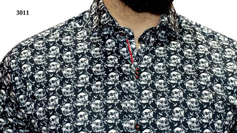 7 Downie St. - Black Long Sleeve Shirt with Skulls Pattern