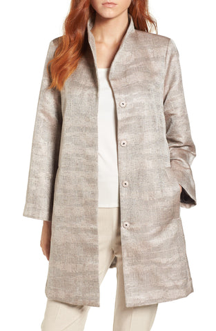 Eileen Fisher Funnel Neck Jacquard Jacket In Buttercream