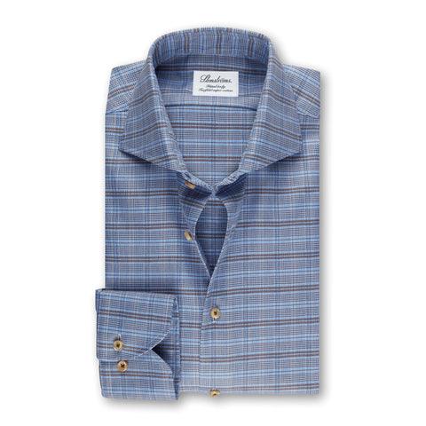 Stenstroms Blue Checked Fitted Body Shirt