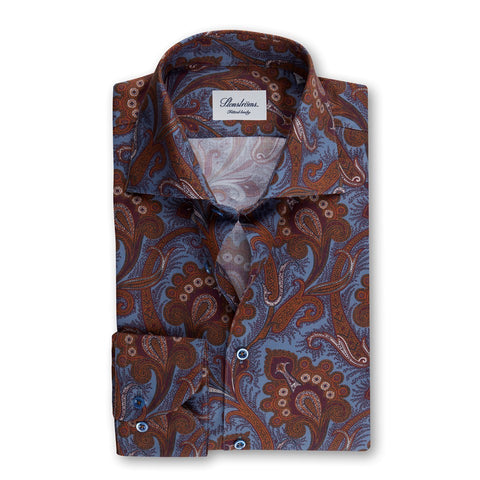 Stenstrom Blue/Brown Paisley Fitted Body Shirt