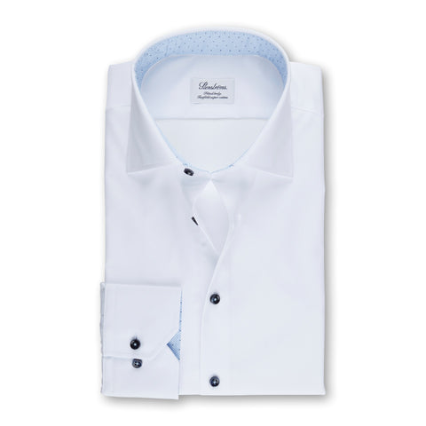 Stenstroms White Fitted Body Shirt With Contrast